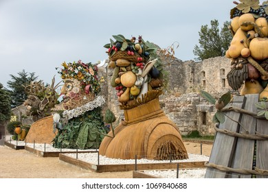 Les Baux de Provence, France - June 26, 2017: The artworks titled  Four Seasons are three-dimensional interpretations created by P. Haas and inspired by a set of paintings by Giuseppe Arcimbaldo