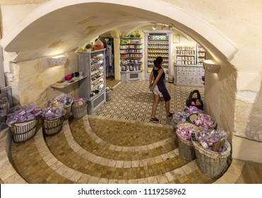 Les Baux de Provence, France - June 26, 2017: Soap shop in  Les Baux de Provence with a lot of pieces of soaps of various colors. France