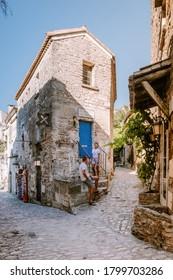 Les Baux de Provence France, old historical village build on a hill in the Provence, Les Baux de Provence village on the rock formation and its castle. France, Europe