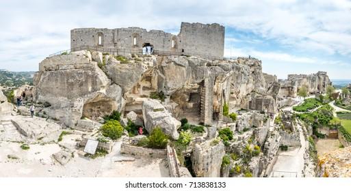 LES BAUX-DE-PROVENCE - APRIL 12 : Hares' Burrow is fortress built into rocky mountains in Les Baux-de-provence in France, on April 12, 2017.