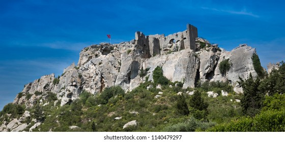 Les Baux-de-Provence historic castle. Bouches du Rhone, Provence, France, Europe.