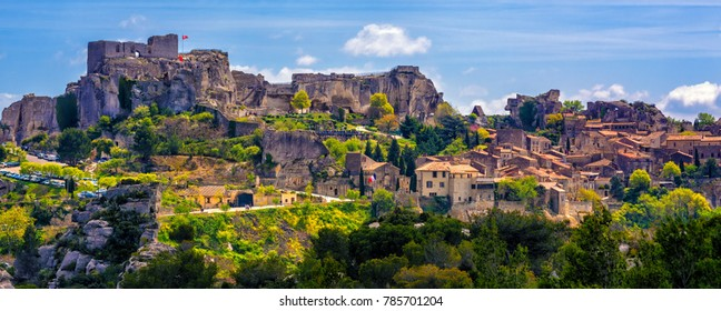Les Baux-de-Provence village, spectacular located in Alpilles mountains, Provence, France - Shutterstock ID 785701204