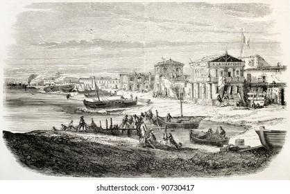 Les Catalans old view, Marseilles coastal district. Created by Crapelet, published on L'Illustration, Journal Universel, Paris, 1858