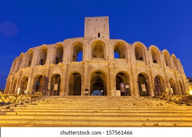 Les Ar�¨nes d'Arles is an old Roman amphitheatre situated in Arles, Provence-Alpes-Cote-d'Azur, France, Europe. Illuminated at night.