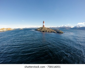 Les Eclaireurs Lighthouse in Les Eclaireurs islands, which it takes its name from, 5 nautical mile east of Ushuaia in the Beagle Channel, Tierra del Fuego, southern Argentina.