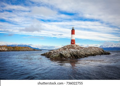 Les Eclaireurs Lighthouse is located near Ushuaia in Tierra del Fuego in Argentina.