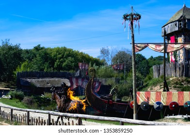 Les Epesses, France - September 8, 2018 : Vikings show from Puy du fou where a stunt man is riding a horse set on fire