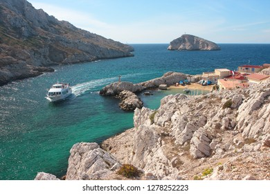 Les Goudes, France - 27 September 2012.: Cruise boat on mediterranean sea. Calanques Marseille.