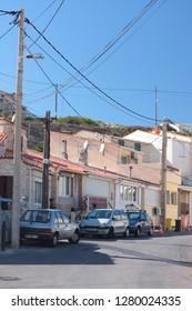 Les Goudes Marseille - 27 October 2012.: Route on Les Goudes village. Marseille district.