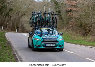 Les Granges-le-Roi, France - March 11, 2019: The technical car of Bora-Hansgrohe Team driving on Cote des Granges-le-Roi during the stage 2 of Paris-Nice 2019.