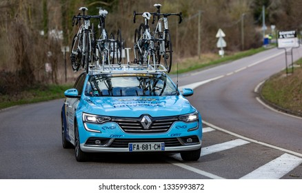 Les Granges-le-Roi, France - March 11, 2019: The technical car of Delko Marseille Provence Team driving on Cote des Granges-le-Roi during the stage 2 of Paris-Nice 2019.