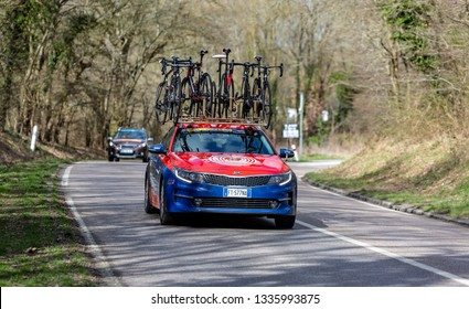 Les Granges-le-Roi, France - March 11, 2019: The technical car of Bahrain-Merida Team driving on Cote des Granges-le-Roi during the stage 2 of Paris-Nice 2019.