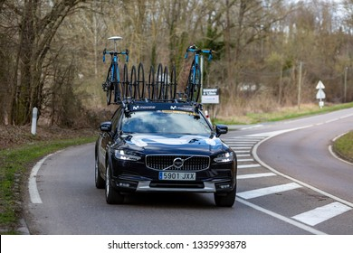 Les Granges-le-Roi, France - March 11, 2019: The technical car of Movistar Team driving on Cote des Granges-le-Roi during the stage 2 of Paris-Nice 2019.