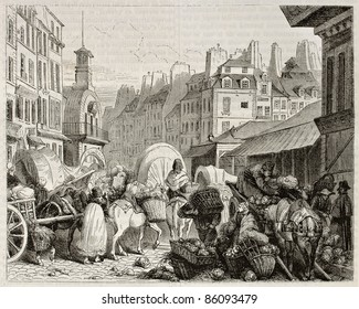 Les Halles old view, Paris. Created by Girardet, published on Magasin Pittoresque, Paris, 1842