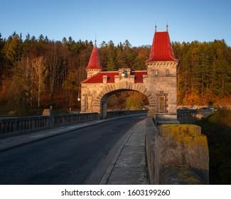 Les Kralovstvi dam captured in the golden hour. - Shutterstock ID 1603199260