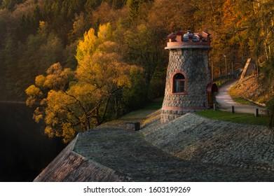 Les Kralovstvi dam captured in the golden hour. - Shutterstock ID 1603199269