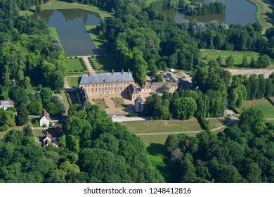 Les Mesnuls, France - july 7 2017 : aerial photography of the historical castle