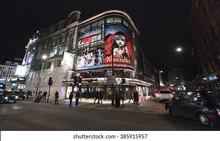 Les Miserables Musical at Queens Theatre London LONDON, ENGLAND - FEBRUARY 22, 2016