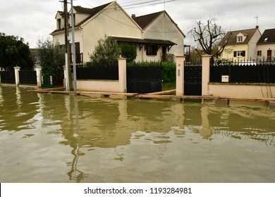 Les Mureaux; France - january 29 2018 : rise in the water level of the Seine river