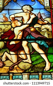 Les Mureaux, France - june 9 2018 : the Cain and Abel stained glass window