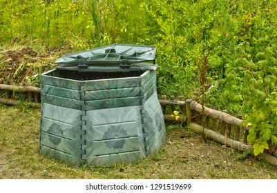 Les Mureaux; France - may 13 2011: a compost bin in an allotment garden