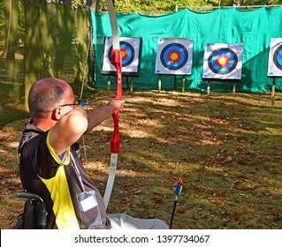 Les Mureaux; France - may 8 2018 : disabled archer