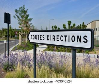 Les Mureaux, France - october 26 2015 : direction sign