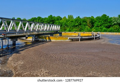 Les Mureaux; France - september 16 2017 : the domestic wastewater treatment