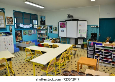 Les Mureaux, France - september 4 2017 : classroom in a primary school