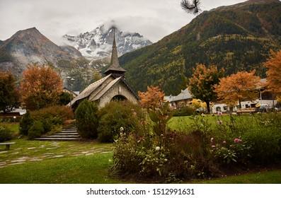 Les Praz Church in Chamonix-Mont-Blanc. Alps. France