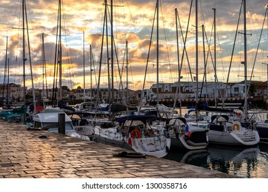 LES SABLES D'OLONNE, FRANCE - AUG, 2018: Colorful fishing boats  and sailing boats in the port of Les Sables, France