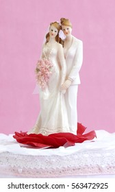 A lesbian couple on top of a wedding cake