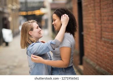 Lesbian couple showing affection