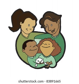 Lesbian couple with son, daughter and family cat; two moms with kids and pet.