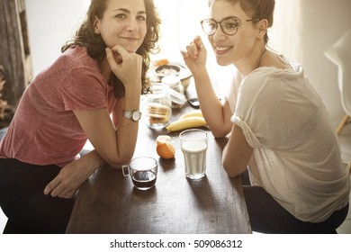Lesbian Couple Together Indoors Concept