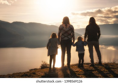 A lesbian family enjoying time outdoors.