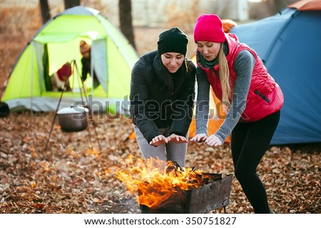 Lesbian girls camping
