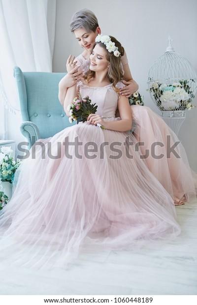 Lesbian Wedding Newlyweds Light Pink Bridal Royalty Free Stock Image