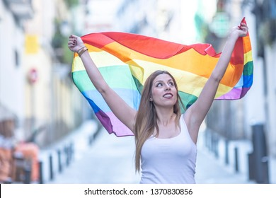lesbian woman in the pride day gay with flag