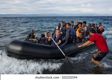 Lesbos, Greece - September 29, 2015: Refugees arrive on the boat from Turkey