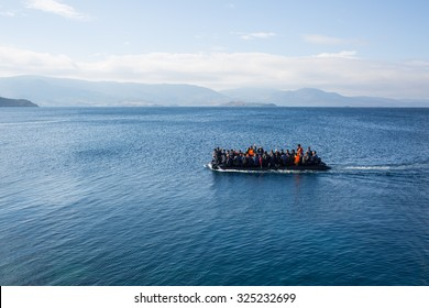 Lesbos, Greece - September 30, 2015: Refugees arrive on the boat from Turkey