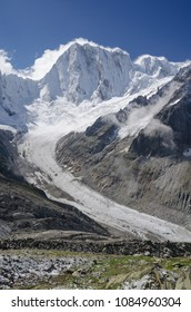 Leschaux glacier and Grandes Jorasses mountain landscape in the french Alps