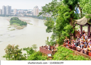 Leshan, China - September 28, 2017: Beautiful view of the city and the confluence of the Min River (Min Jiang) and Dadu River from the Leshan Giant Buddha Scenic Area.