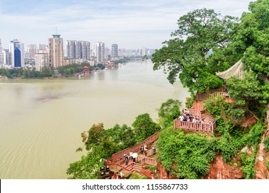 Leshan, China - September 28, 2017: Amazing view of the city and the confluence of the Min River (Min Jiang) and Dadu River from the Leshan Giant Buddha Scenic Area.