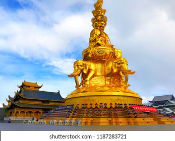 Leshan,Sichuan,China.June 25th,2018.48 meters high and four sides Samantabhadra statue stands on the Golden Summit in Mount Emei Leshan city Sichuan province China.