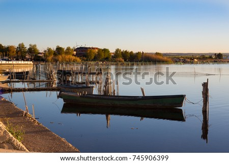 993efe24db Lesina Puglia Italy View Lake Boats Stock Photo (Edit Now) 745906399 ...