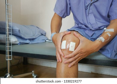 Lesion from surgery knee orthopedic pillow tear.By means of laparoscopy.