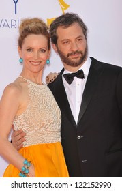 Leslie Mann & husband Judd Apatow at the 64th Primetime Emmy Awards at the Nokia Theatre LA Live. September 23, 2012  Los Angeles, CA Picture: Paul Smith