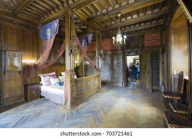 LESNA, POLAND - JULY 04, 2017: Interior of Prince's Chamber at Czocha castle. The bed is equipped with a trapdoor that can dispose of inconvenient lovers.