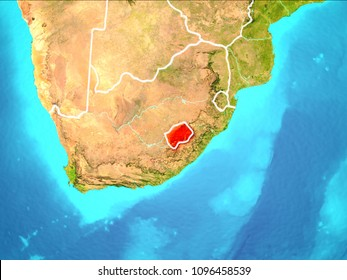 Lesotho highlighted in red from Earth's orbit. 3D illustration. Elements of this image furnished by NASA.